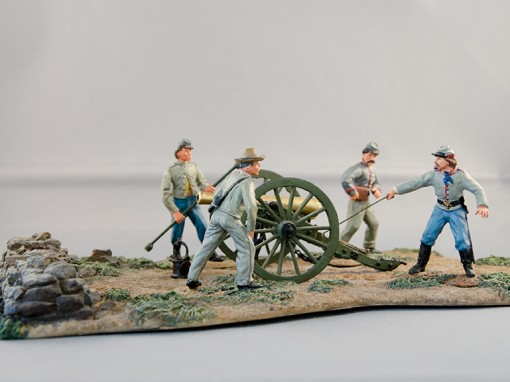 American Civil War Confederate Field Gun and Crew